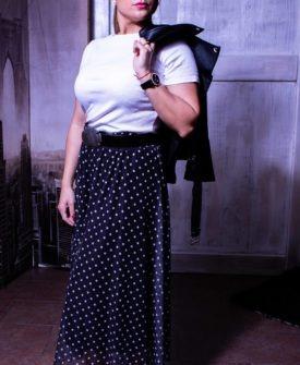 falda plisada de lunares en tul